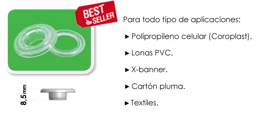 Características ollados de plástico